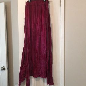 Maxi wrap skirt in magenta with slight tie-dye